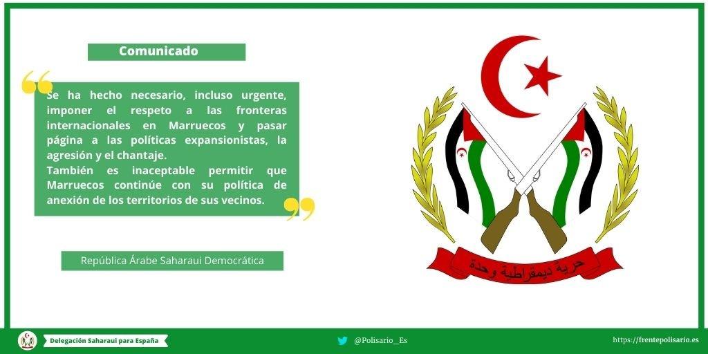 Comunicado del Ministerio de Relaciones Exteriores de la República Árabe Saharaui Democrática
