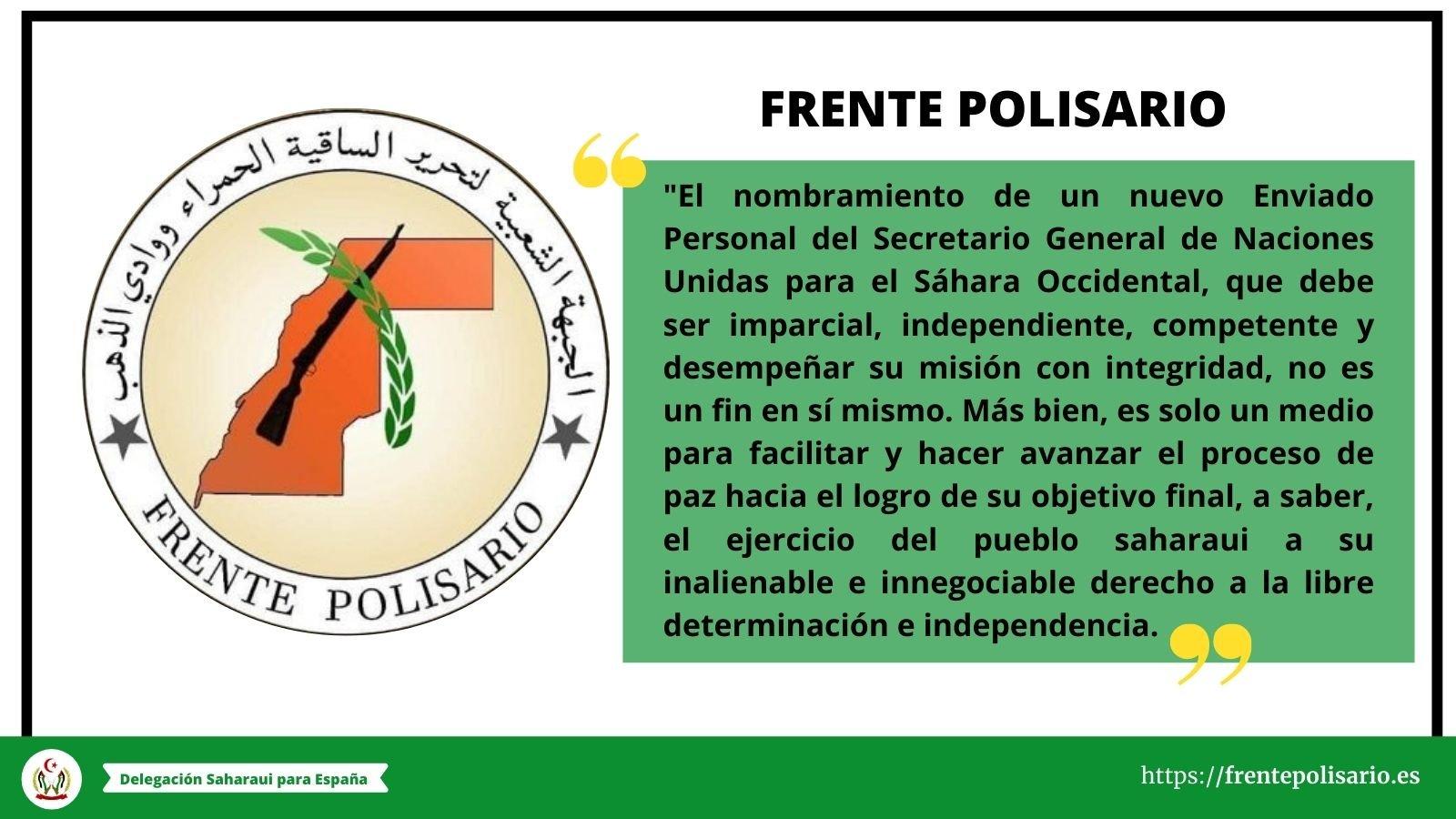 Frente POLISARIO: El Enviado de la ONU para el Sahara Occidental es solo un medio para facilitar y hacer avanzar el proceso de paz hacia el logro de su objetivo final.