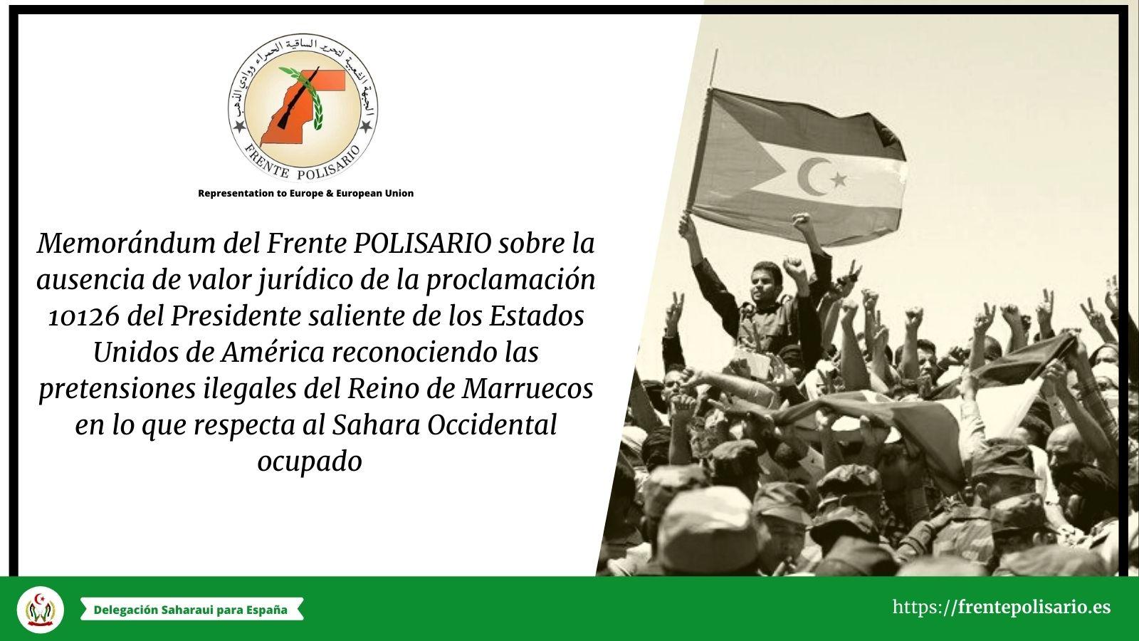 Memorándum del Frente POLISARIO